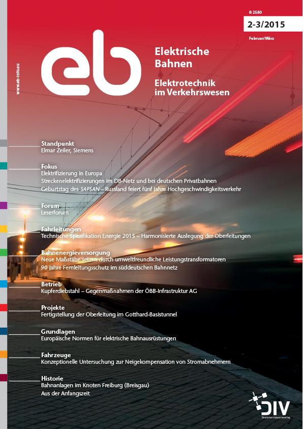 """Artikel, Elektrische Bahnen, März 2015, """"Fertigstellung der Oberleitung im Gotthard-Basistunnel"""" Martin Solka, Stans; Martin Kuhn, Zürich"""