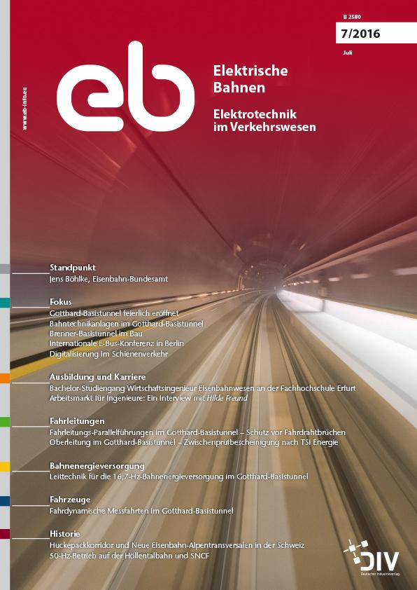 """Artikel, Elektrische Bahnen, Juli 2016, """"Oberleitung im Gotthard-Basistunnel – Zwischenprüfbescheinigung nach TSI Energie""""; Martin Solka, Zürich; Dirk Behrends, Berlin"""
