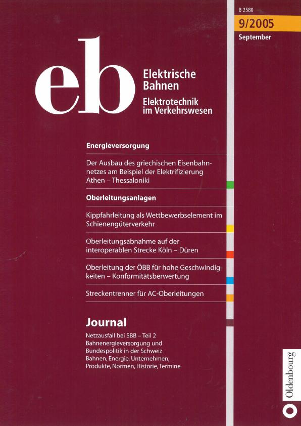 """Artikel, Elektrische Bahnen, September 2015, """"Kippfahrleitung als Wettbewerbselement im Schienengüterverkehr""""; Martin Solka, Wiener Neudorf"""